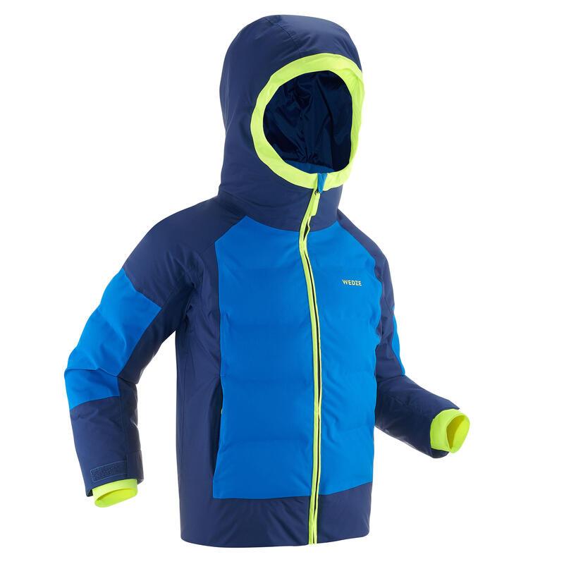 KIDS' EXTRA WARM AND WATERPROOF PADDED SKI JACKET 580 WARM BLUE