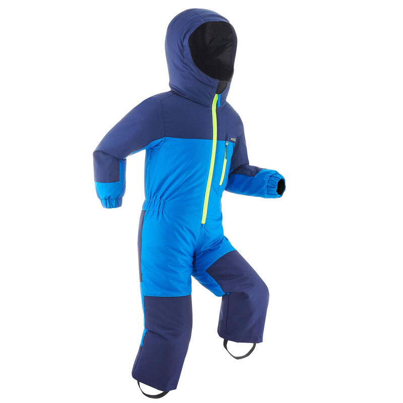 KIDS' WARM AND WATERPROOF SKI SUIT 100 WARM BLUE