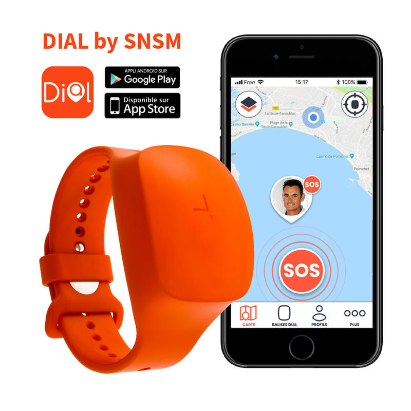 DIAL alert and tracking wristband designed by the SNSM for water sports.