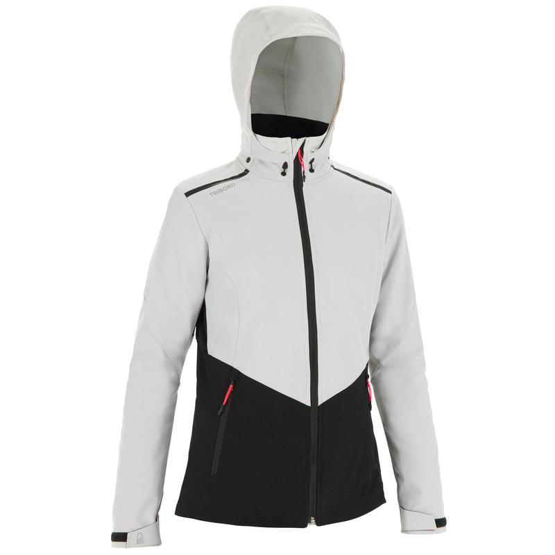 Winddichte softshell jas voor zeilen dames Sailing 900 grijs/zwart