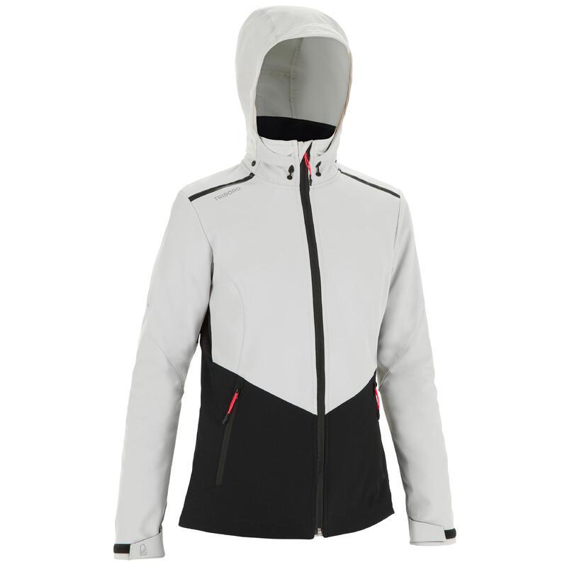Women's Sailing Windproof Softshell Jacket 900 - Grey Black