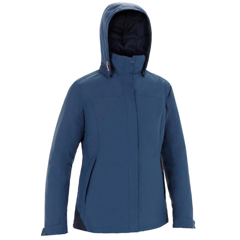 Dámská hřejivá bunda 100 na loď modro-šedá