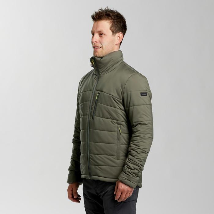 Gewatteerde jas voor bergtrekking heren comfort -10°C Trek500 kaki