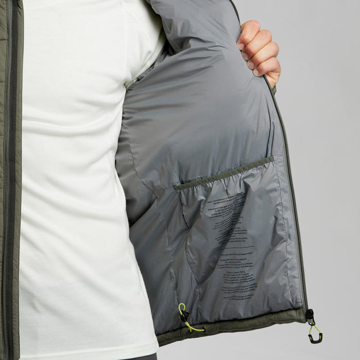 Doudoune en ouate de trek montagne - confort -10°C - TREK 500 kaki - homme