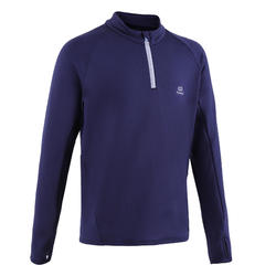 Maillot manches longues chaud 1/2 zip enfant d'athlétisme AT 100 bleu marine