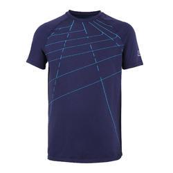 兒童款田徑舒適T恤AT 300-海軍藍