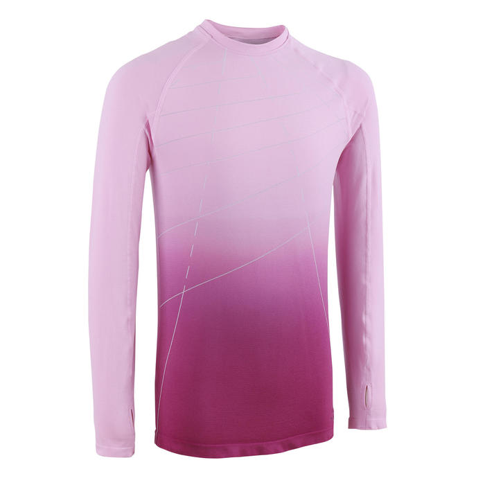 女孩款親膚田徑長袖運動衫AT 500- 淡粉色