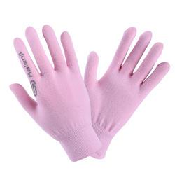 兒童款無縫線田徑手套 - 淡粉色配灰色