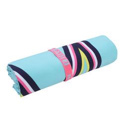 輕便微纖維毛巾L號80 x 130 cm 藍色印花