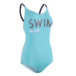 女款低衩連身泳衣Riana - 藍綠色