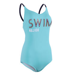 Women's Swimming low-cut One-Piece Swimsuit Riana - Green turquoise