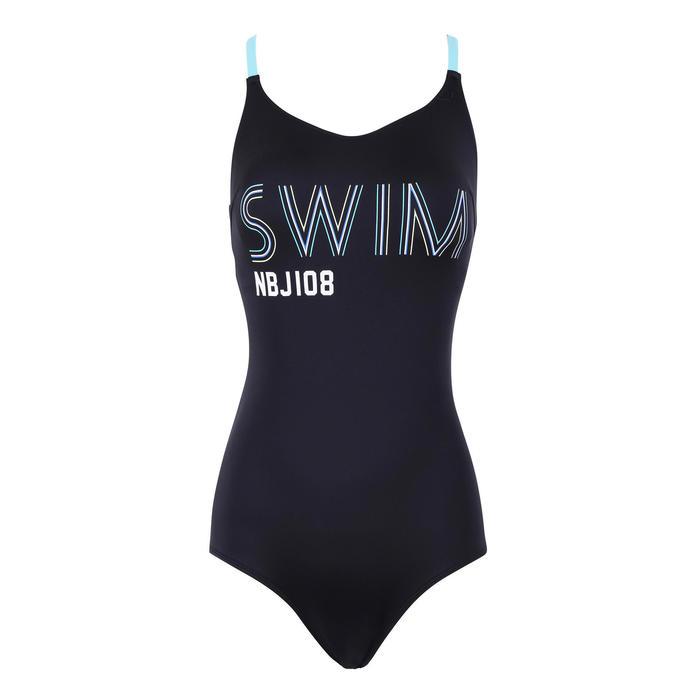 女款低衩連身泳衣Riana - 黑色