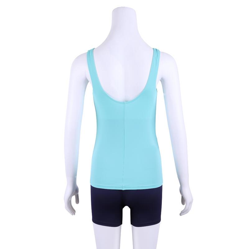 ชุดว่ายน้ำวันพีซผู้หญิงทรงแทนกินี่รุ่น Heva (สีฟ้า Turquoise พิมพ์ลาย)