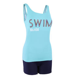 Women's Swimming One-Piece Tankini Swimsuit Heva - Green turquoise and print