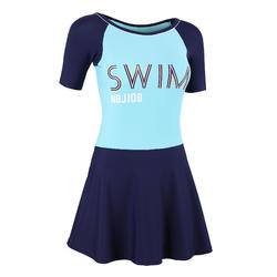 Women's Swimming One-Piece short-sleeve Swimsuit skirt Una - turquoise