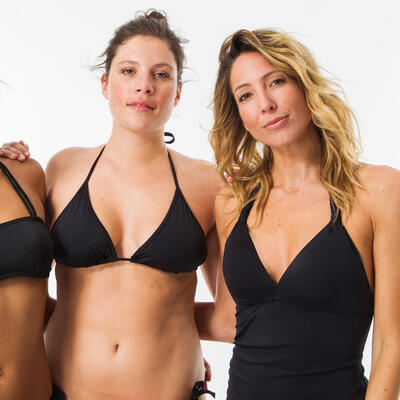 Parte superior bikini tipo tankini almohadillas fijas Surf Olaian INES M NEGRO