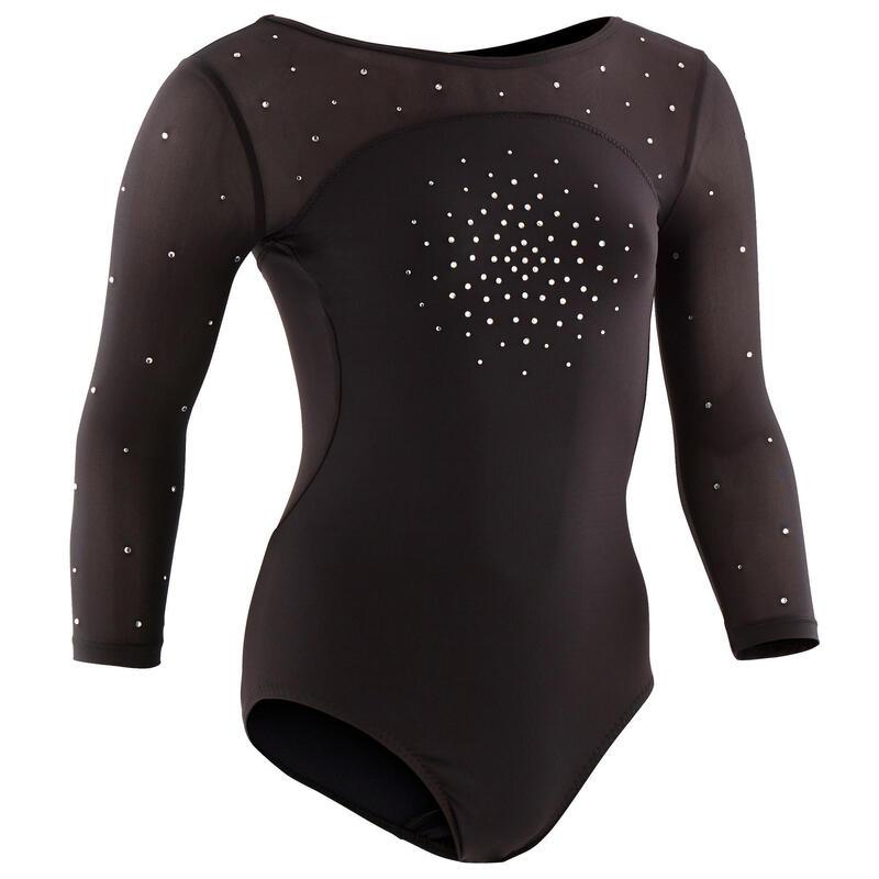 Dívčí gymnastický dres 900 s 3/4 rukávy černý