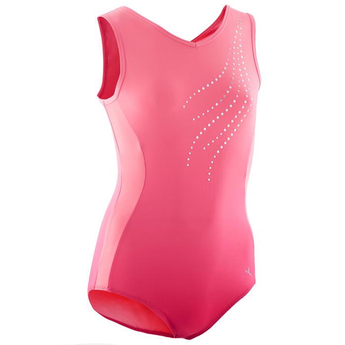 Mouwloos turnpak voor toestelturnen dames 500 roze