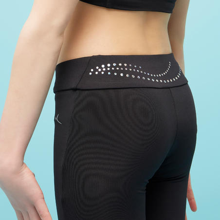Girls' Artistic Gymnastics Leggings 500 - Black/Sequins