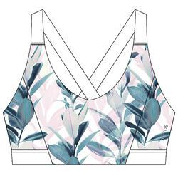 Women's Fitness Cardio Training Sports Bra 500 - White Print