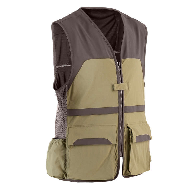 LIGHTWEIGHT CLOTHING Shooting and Hunting - 500 hunting vest light green SOLOGNAC - Hunting and Shooting Clothing