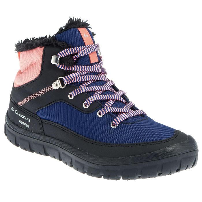 兒童款中筒保暖鞋帶式雪地健行靴SH100-珊瑚紅