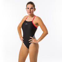 Black and white women's Lexa XP one-piece swimsuit