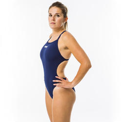 Sportbadpak voor zwemmen dames Solid Light Tech marineblauw