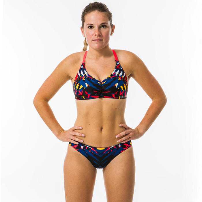 Bas de maillot de bain de natation femme Jana kal bleu et rouge