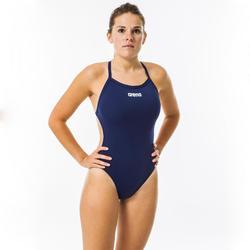 Sportbadpak voor zwemmen dames Solid Tech marineblauw