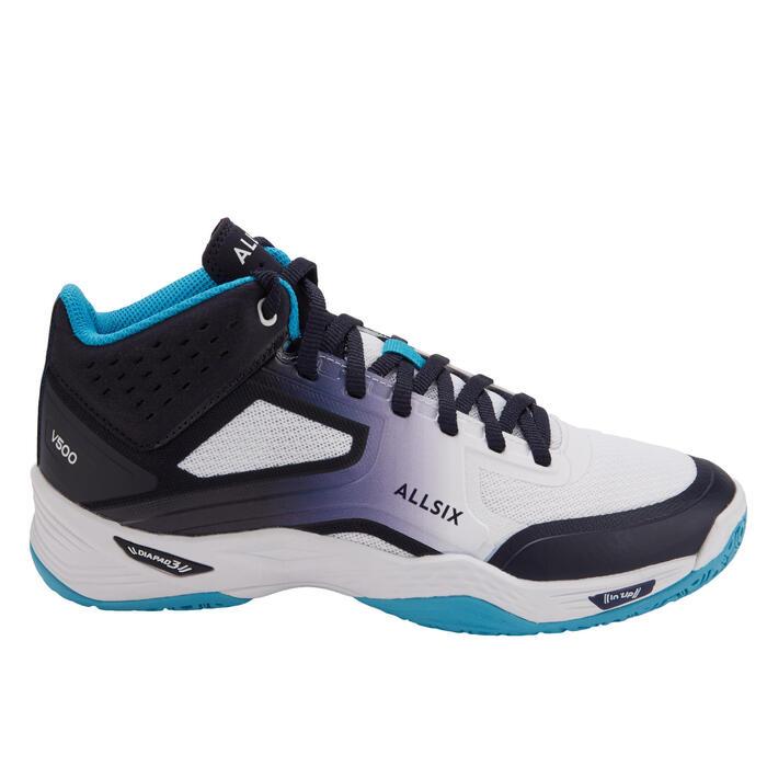 Chaussures de volley-ball Mid joueuses régulières blanches, bleues et turquoises
