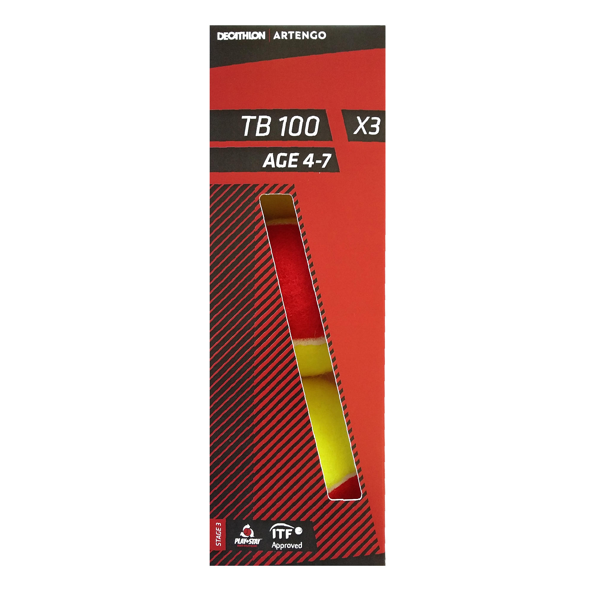 Set 3 Mingi Tenis TB100 Roșu imagine