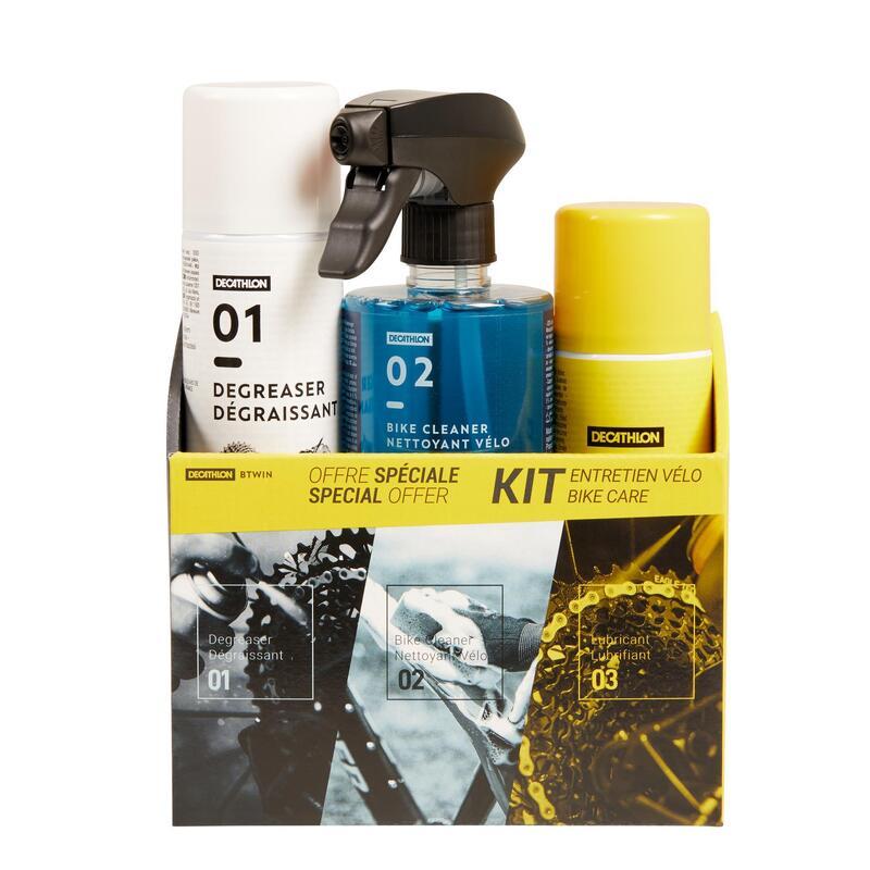 Reinigingsset voor fiets (spons, reinigingsspray, ontvetter, smeermiddel)