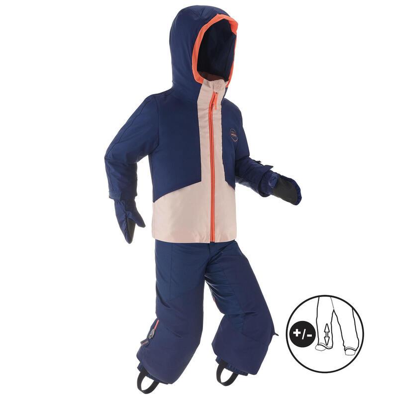 KIDS' WARM AND WATERPROOF SKI SUIT 580 PINK / NAVY