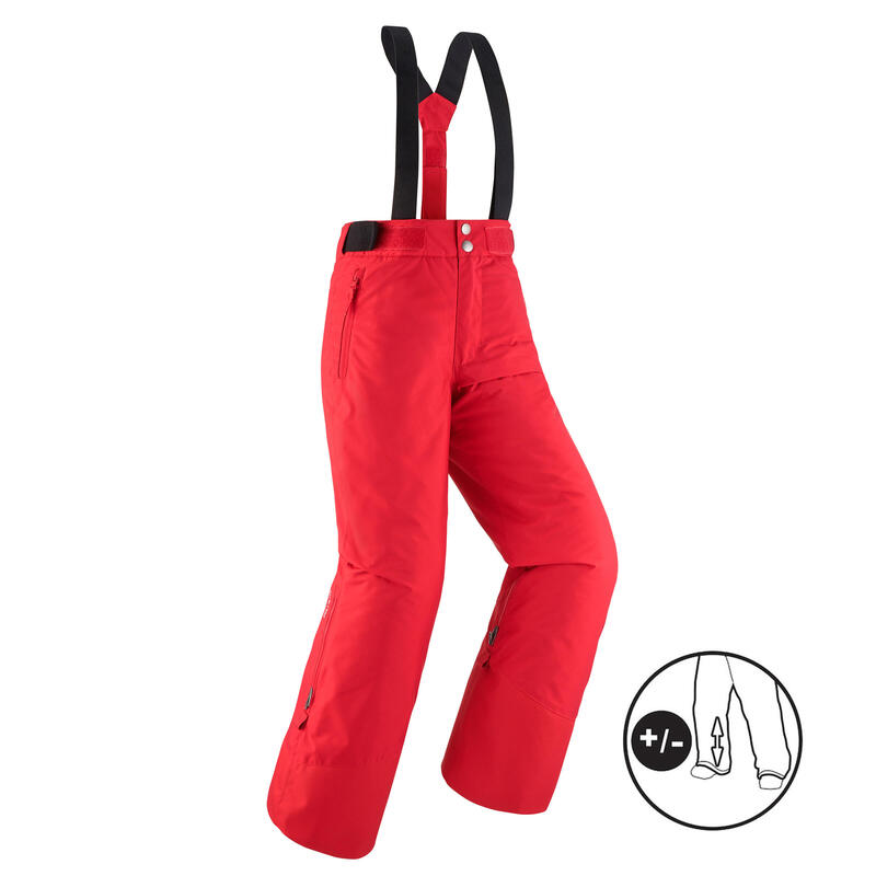 KIDS' WARM AND WATERPROOF SKI TROUSERS PNF 500 RED