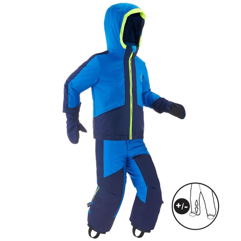 KIDS' WARM AND WATERPROOF SKI SUIT 580 BLUE
