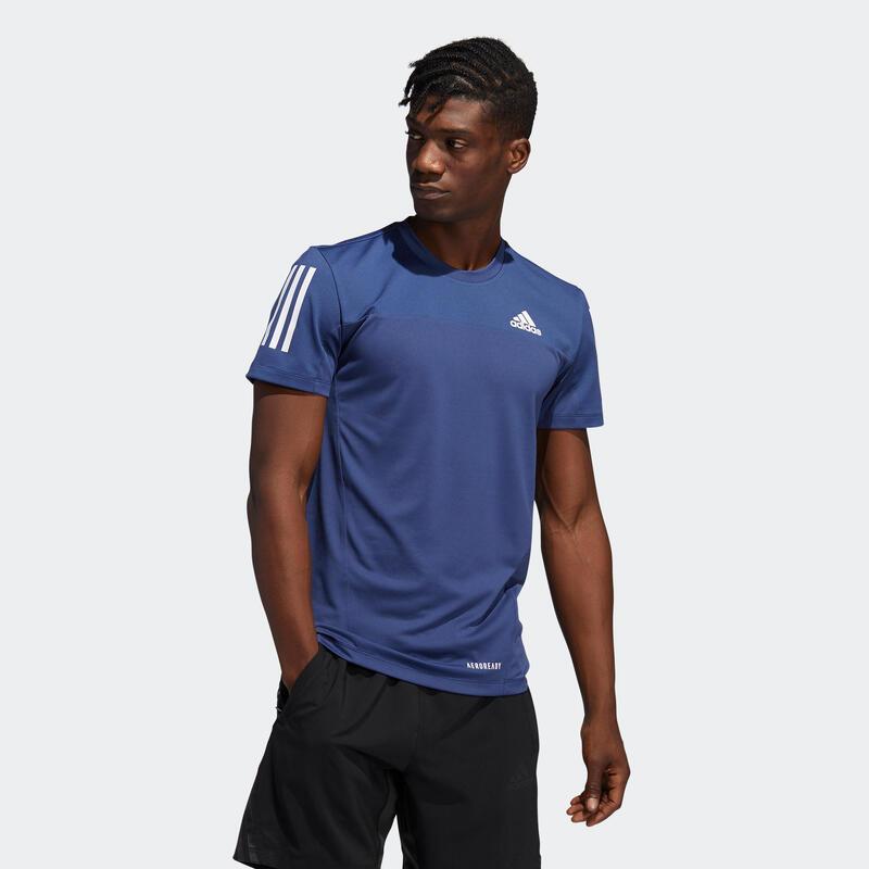 T-shirt voor cardiofitness heren indigoblauw