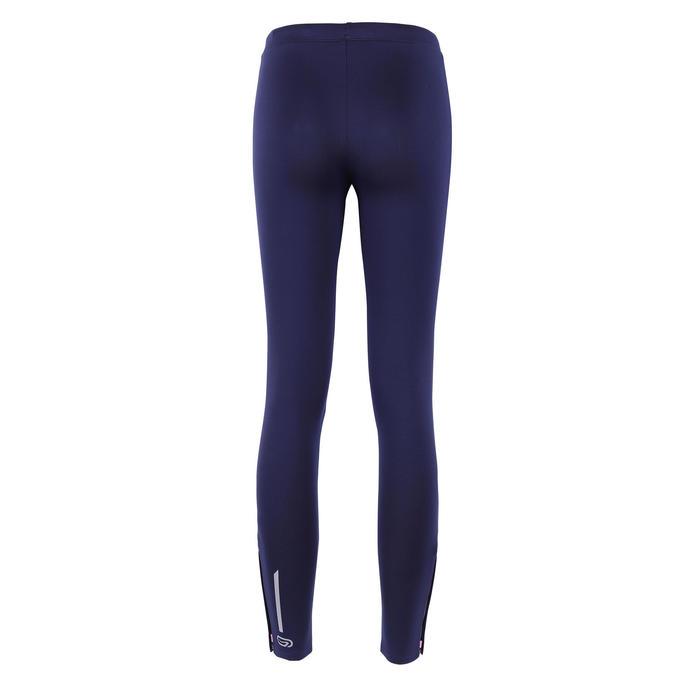 兒童款田徑緊身褲(適用寒冷天氣)Kalenji AT100 - 海軍藍配粉紅色