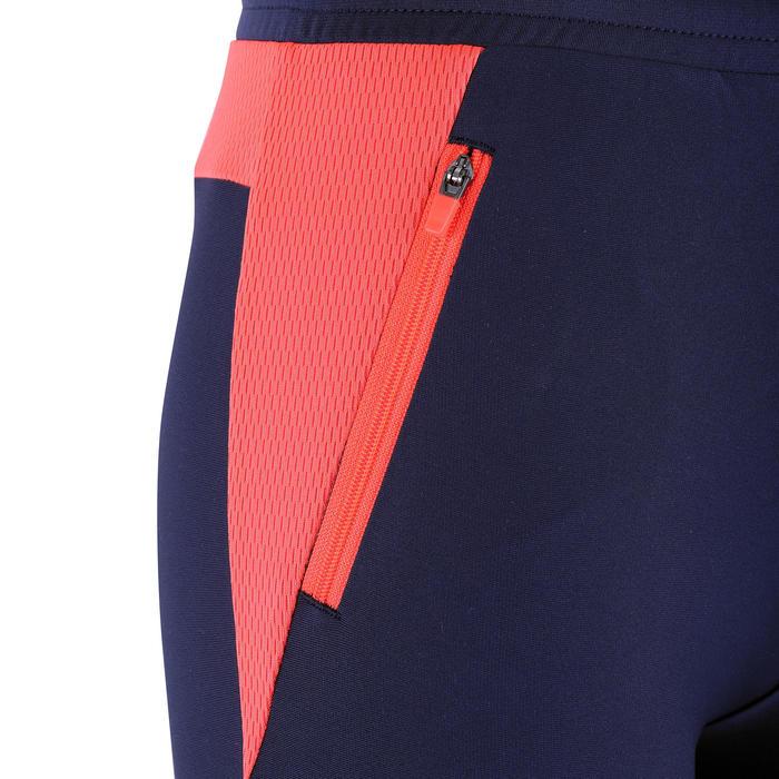 兒童款田徑長褲(適用寒冷天氣)Kalenji - 海軍藍配螢光珊瑚藍