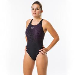 Sportbadpak dames voor zwemmen Powerback zwart/roze