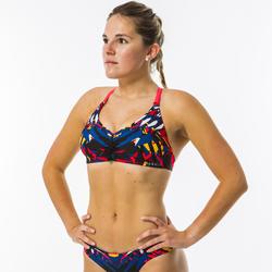 Haut de maillot de bain de natation femme Jana rouge, bleu et noir