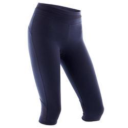 Dameskuitbroek voor pilates en lichte gym 520 slim fit marineblauw