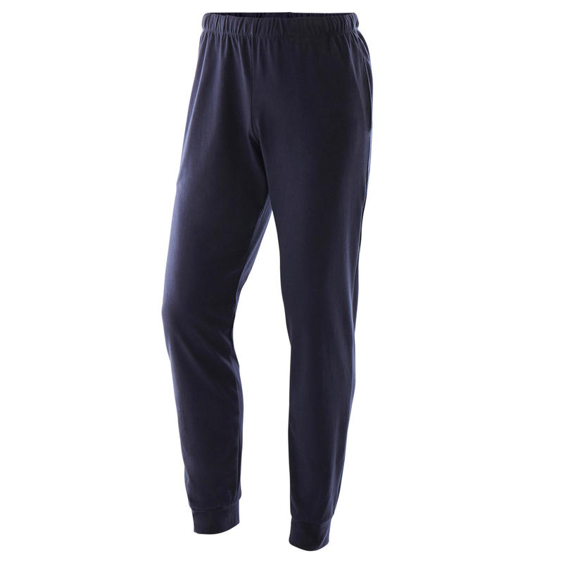 Joggingbroek voor fitness aansluitend aan de enkels marineblauw