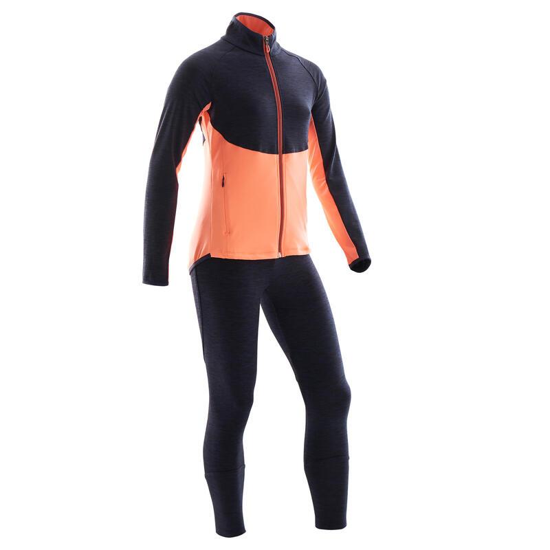 Warm en ademend trainingspak voor gym meisjes S500 marineblauw/rood synthetisch