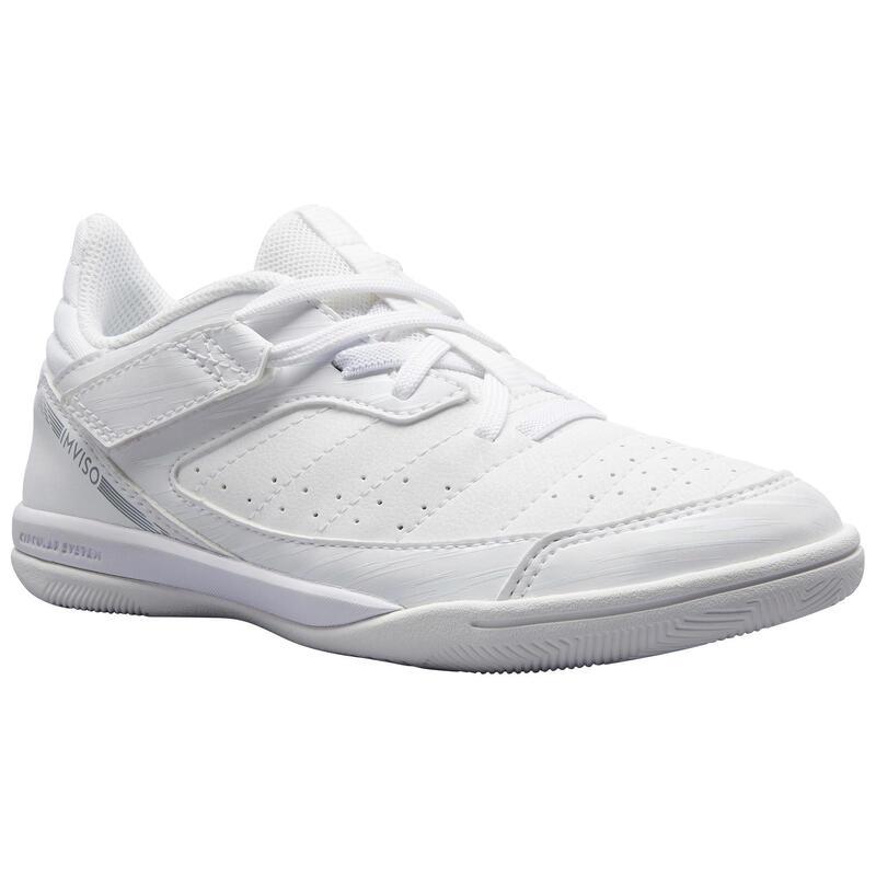 Eskudo 500 Kids' Futsal Boots - White (Rip-Tab)