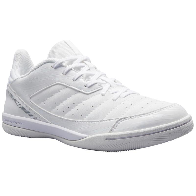 兒童款石地足球鞋Eskudo 500-白色