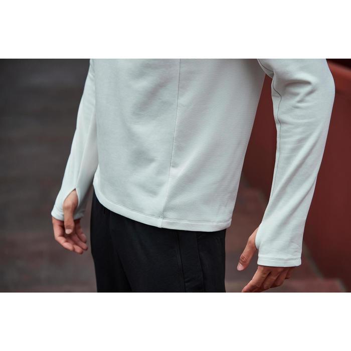 男款慢跑連帽運動衫RUN WARM+米色
