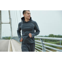 男款慢跑連帽運動衫RUN WARM+灰色