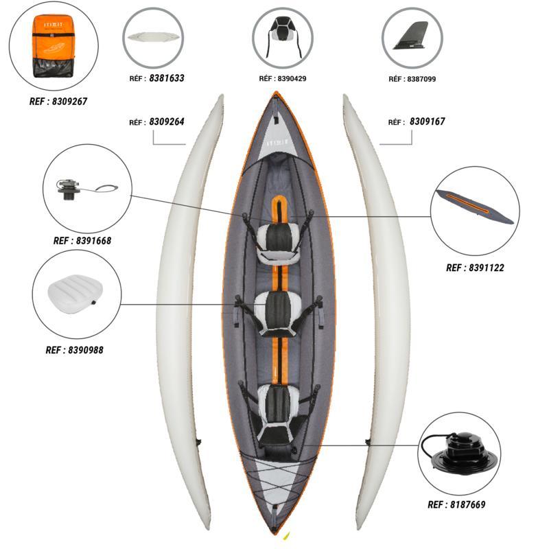 เรือคายัดสำหรับพายเที่ยวแบบสูบลม 2 หรือ 3 ที่นั่ง (สีส้ม)