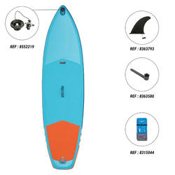 Beginner Touring Inflatable Stand-Up Paddleboard 9 Foot - Blue and Orange